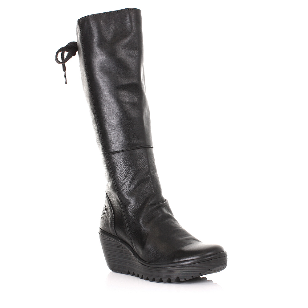 womens fly yust black mousse leather knee high