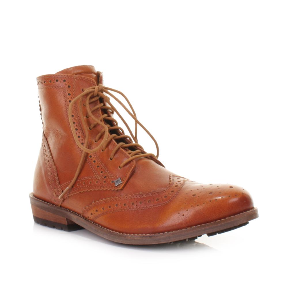 mens feud gravity cognac brogue leather smart ankle