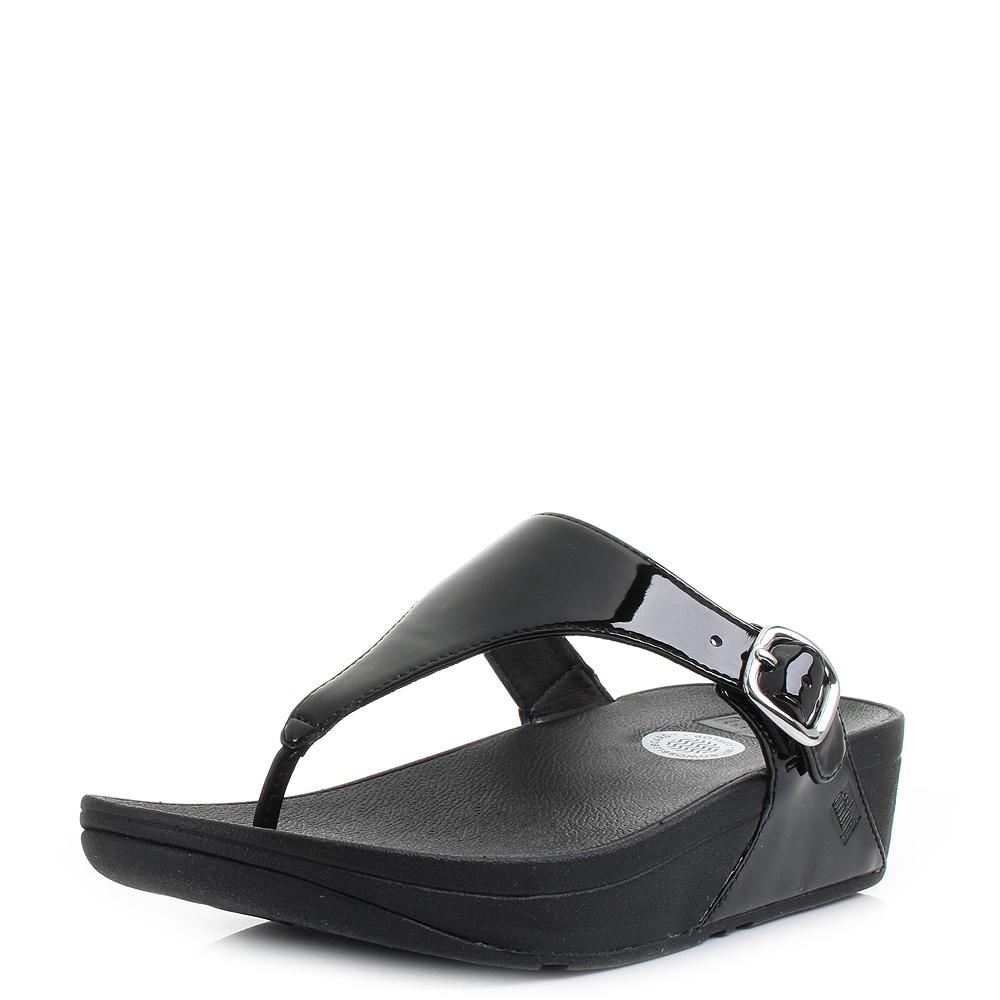Black sandals uk - Womens Fitflop Skinny All Black Patent Wedge Summer Flip Flops Sandals Uk Size