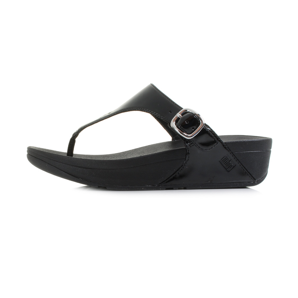 Womens fitflop skinny all black patent wedge summer flip for All black piscine wedges