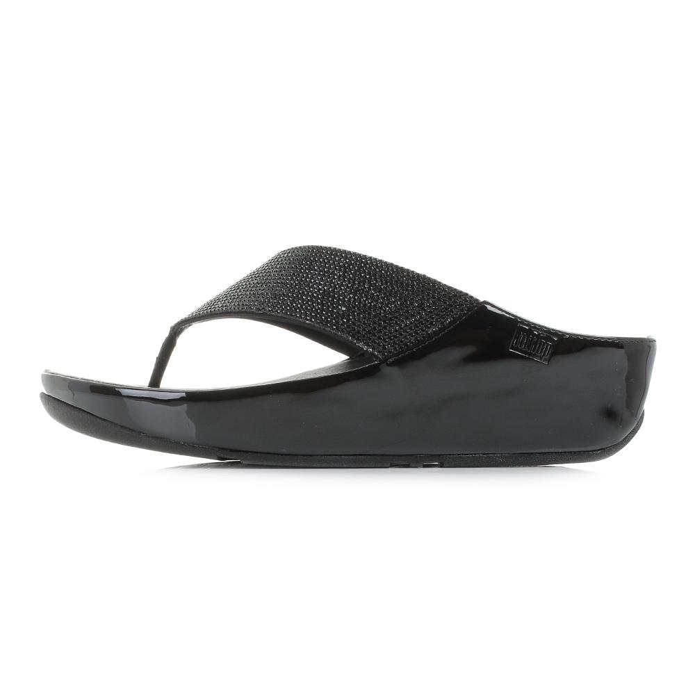 Black glitter sandals - Womens Fitflop Crystall Black Glitter Comfort Wedge Flip