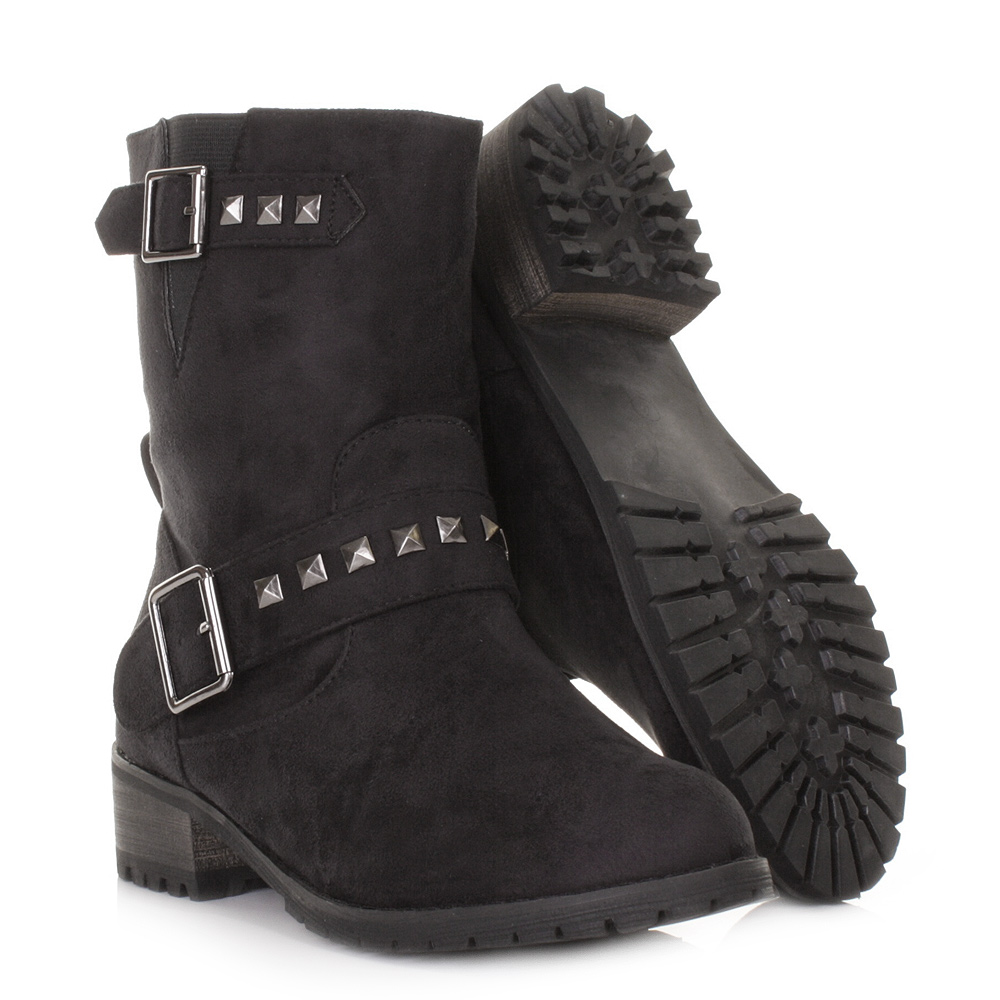 black suede style studded chunky biker ankle boots