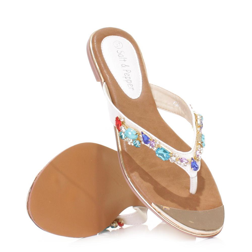 damen zehentrenner sandalen flip flops gold kappe flach steinbesetzt 36 41 ebay. Black Bedroom Furniture Sets. Home Design Ideas