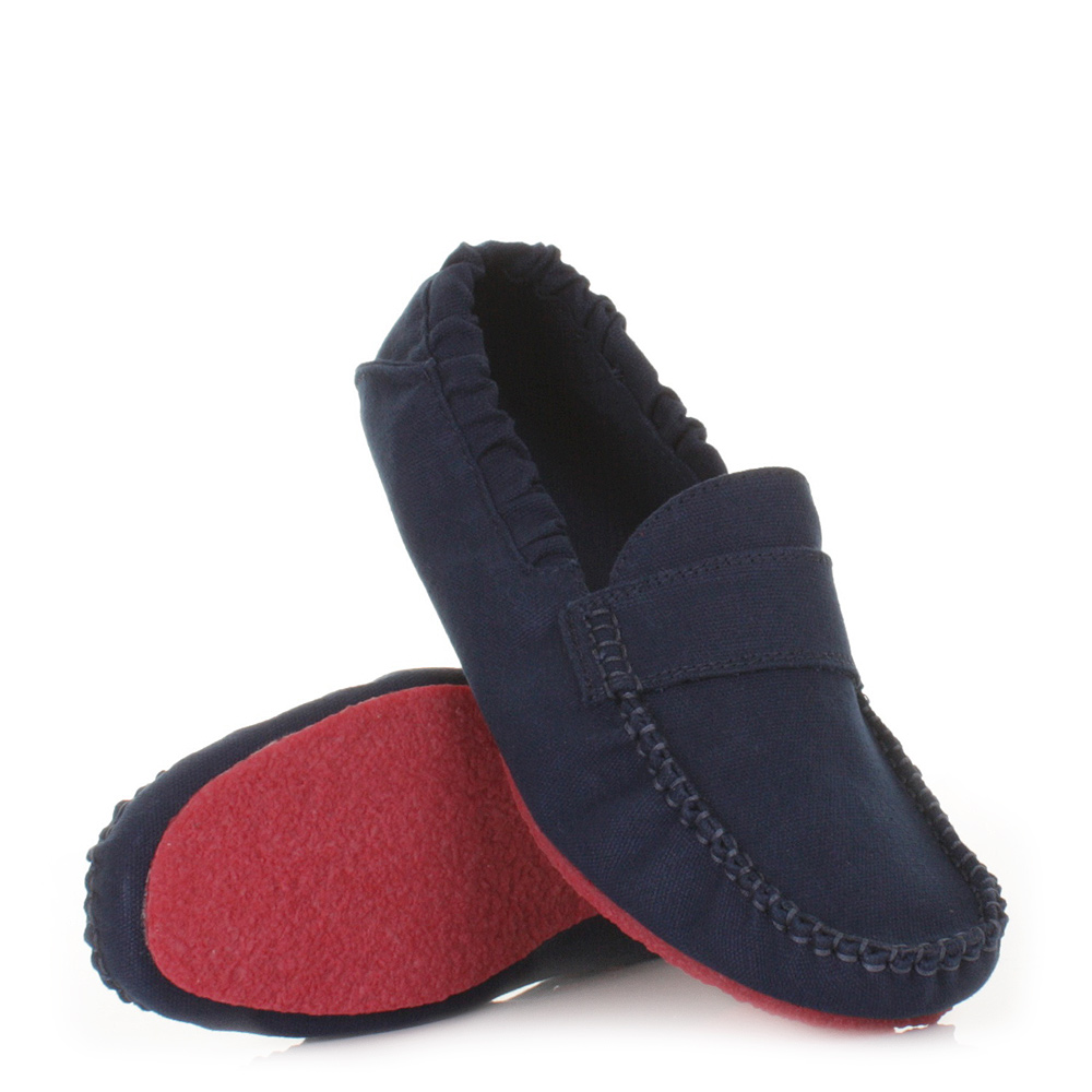 MENS MOCKS SADDLE NAVY CANVAS LOAFERS SLIP ON CANVAS SHOES