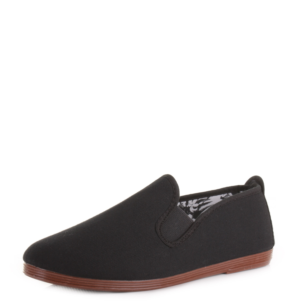 womens flossy arnedo black flat casual plimsolls shoes