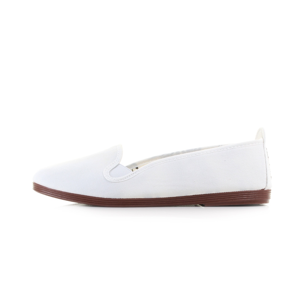 womens flossy mijas white casual plimsolls flat canvas