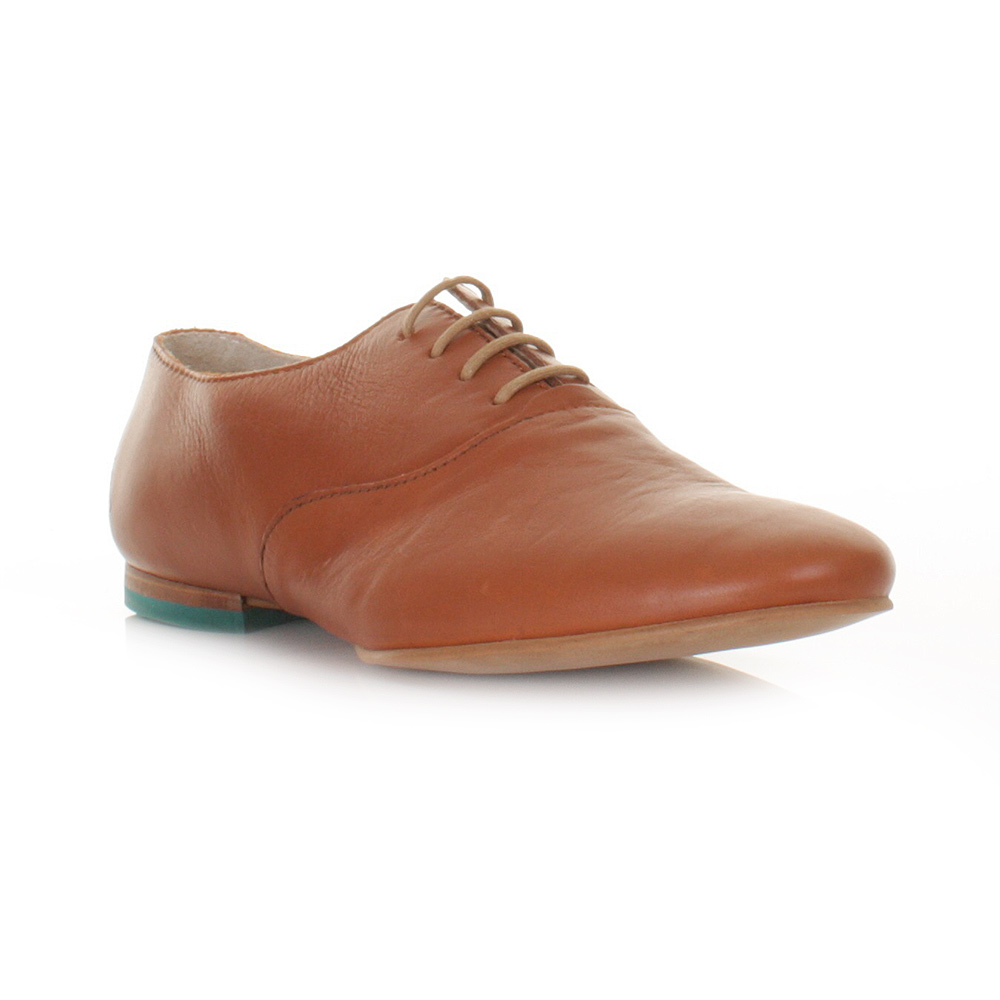WOMENS FLY LONDON FOFI BROWN LEATHER LACE UP SMART CASUAL SHOES SIZE 3