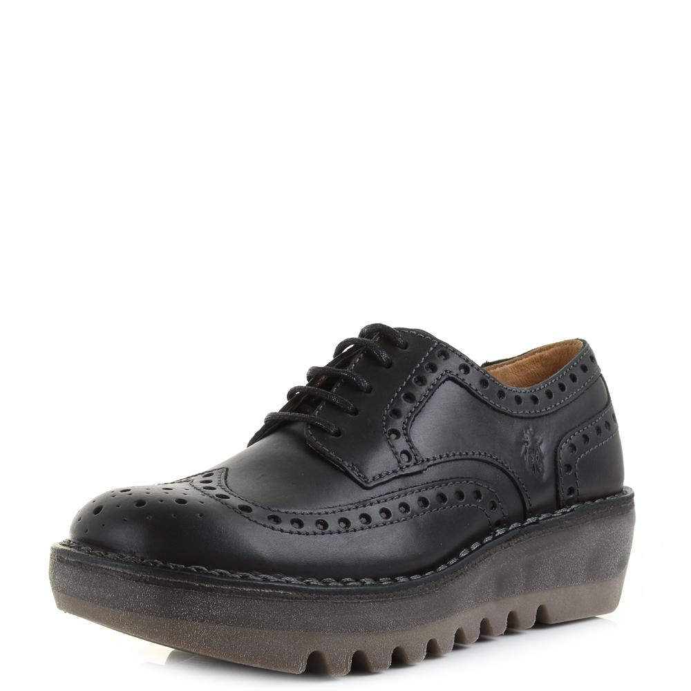 womens fly london jane smooth black leather brogue wedge smart shoes uk size ebay. Black Bedroom Furniture Sets. Home Design Ideas