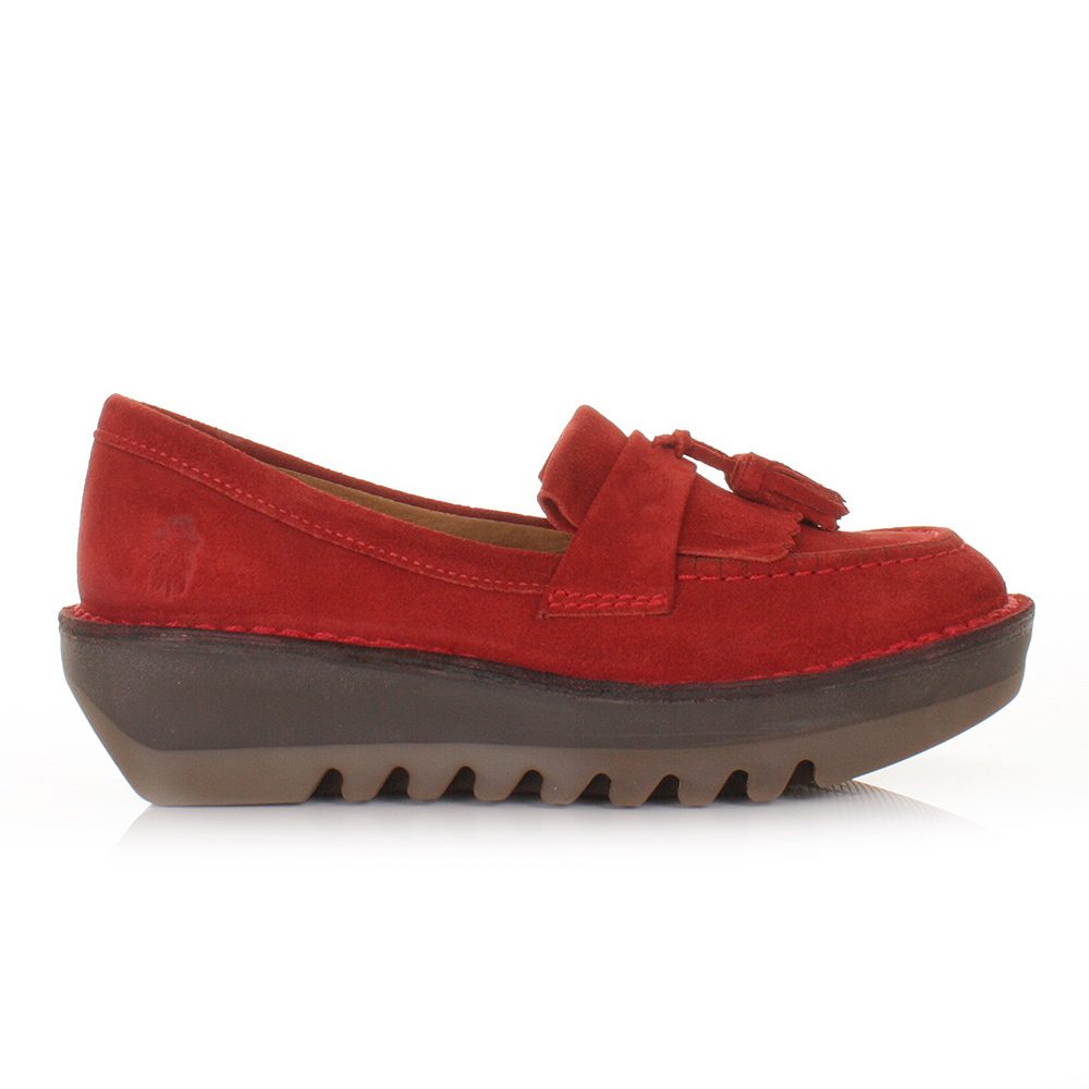 WOMENS FLY LONDON JUNO RED REAL SUEDE FUNKY LOAFERS FLAT PLATFORM ...