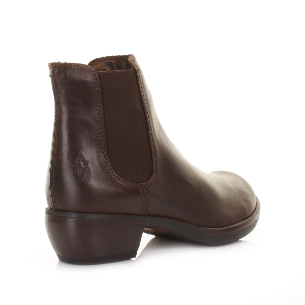 womens fly make brown leather chelsea ankle
