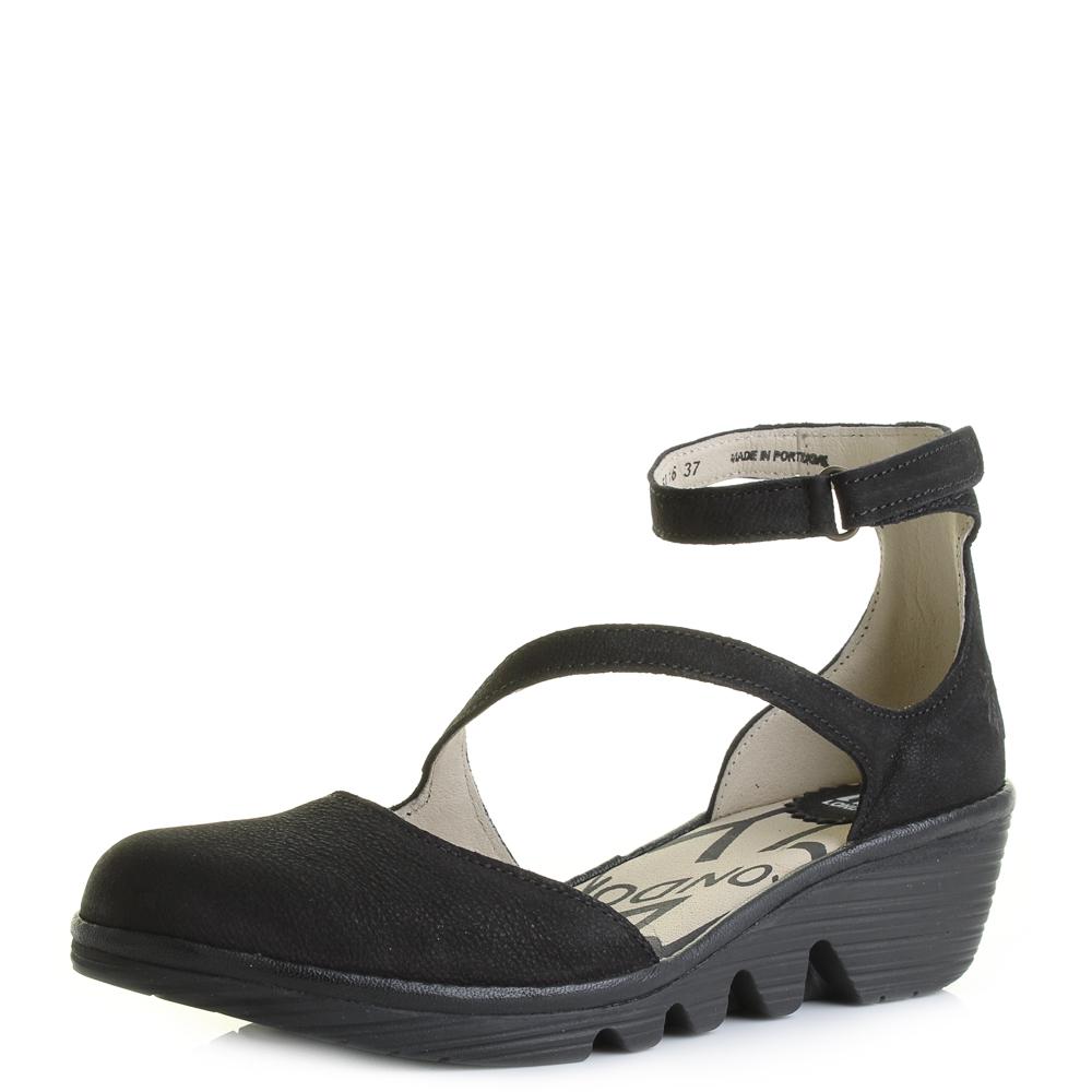 Womens Fly London Plan Black Cupido Leather Wedge Heel