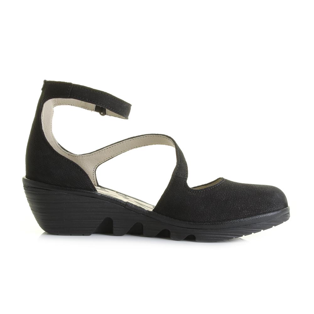 womens fly plan black cupido leather wedge heel