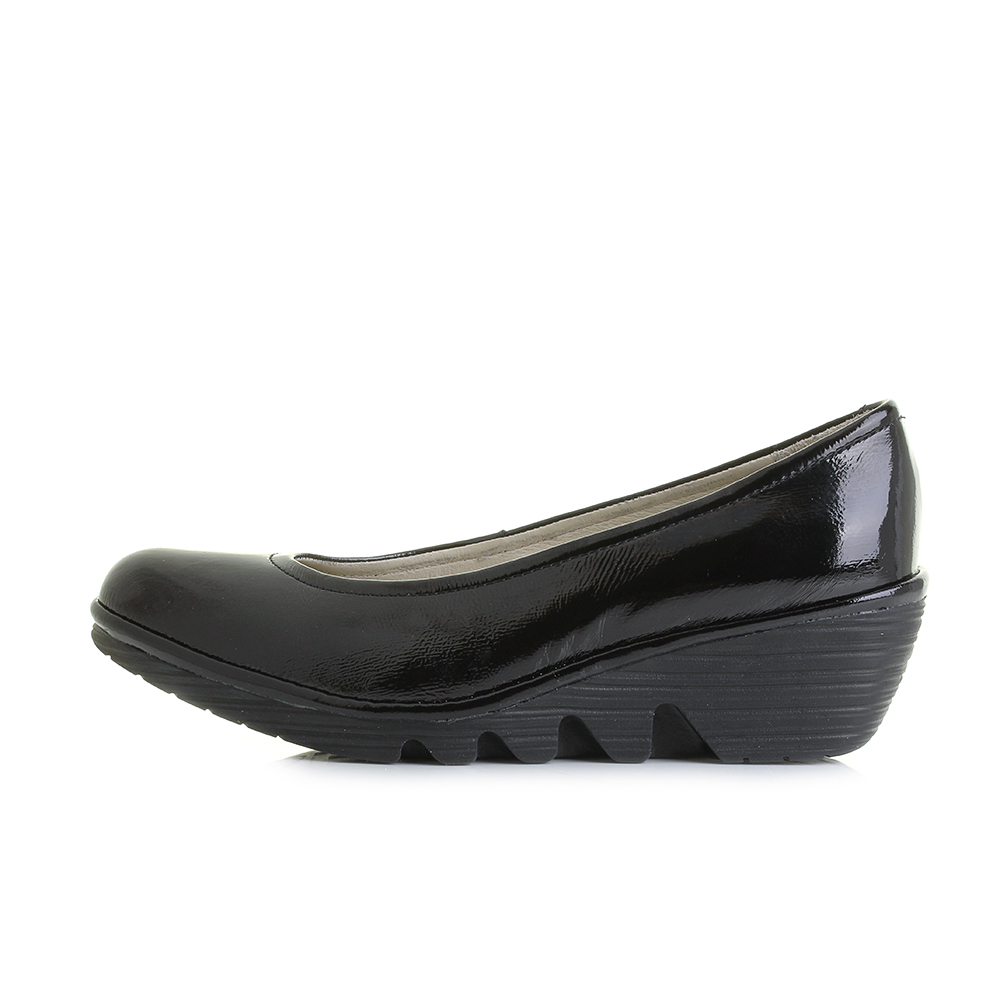 womens fly luxor black patent leather wedge comfort shoes shu size ebay