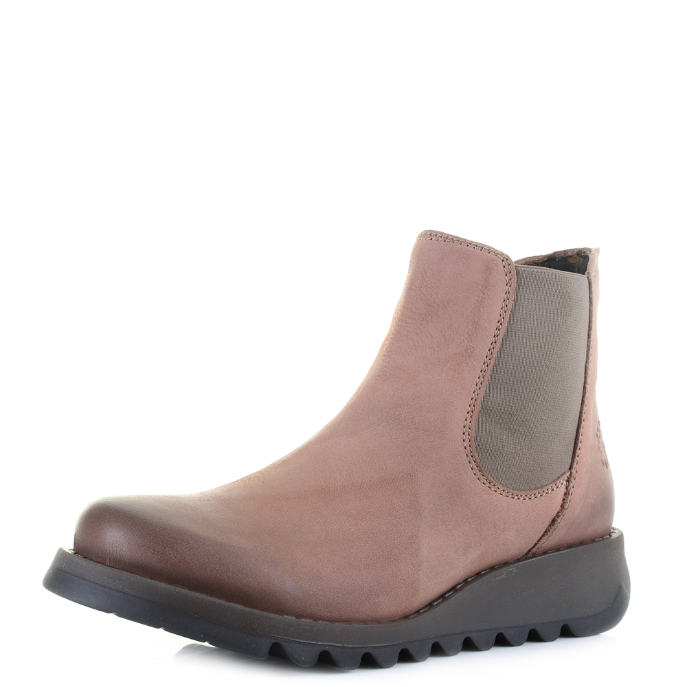 womens fly london salv cupido rose leather flat chelsea ankle boots sz size ebay. Black Bedroom Furniture Sets. Home Design Ideas