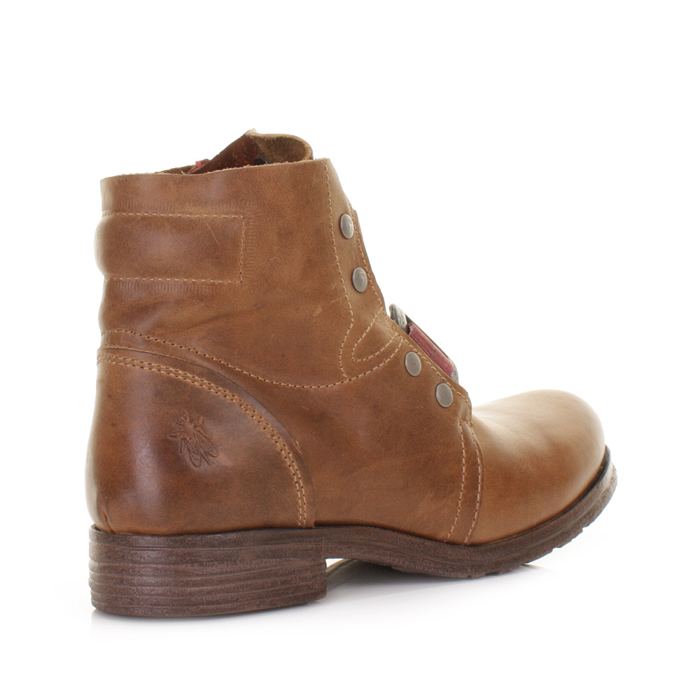 womens fly camel rug leather ska flat ankle boots