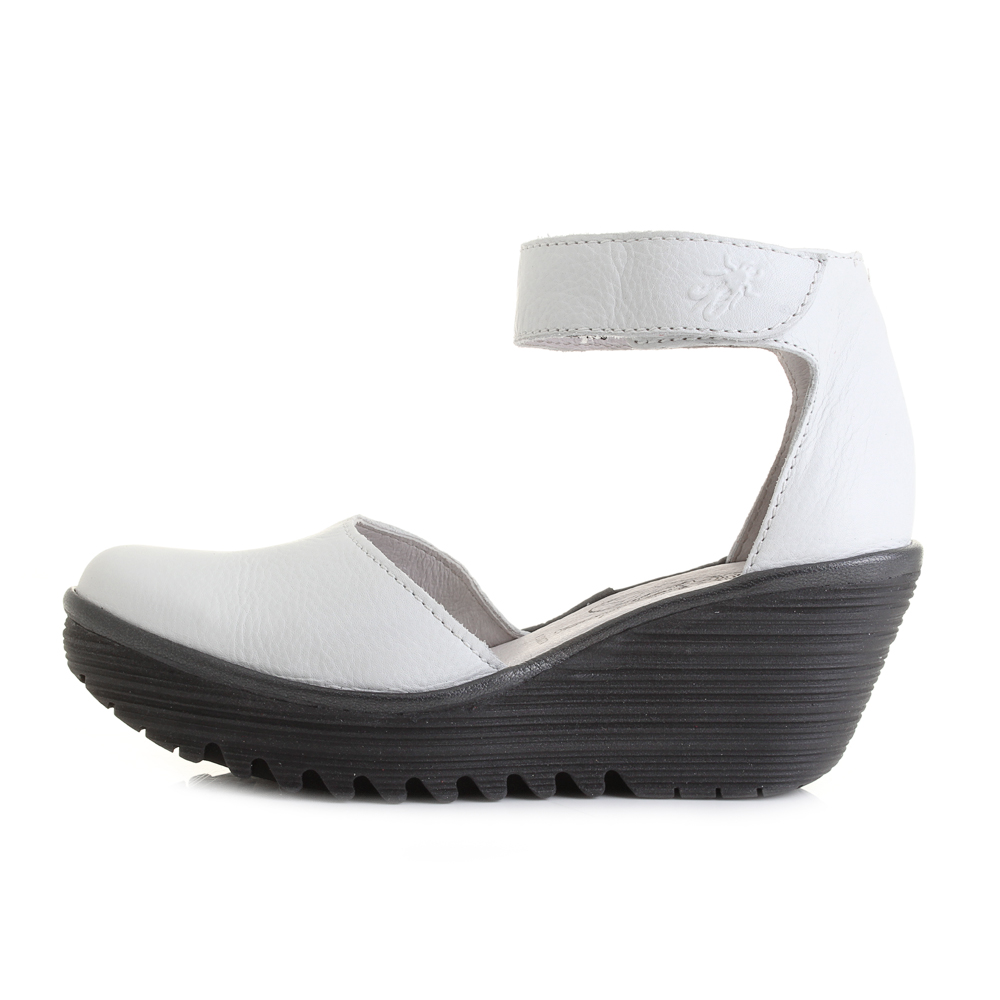 womens fly yand white black wedge heel leather
