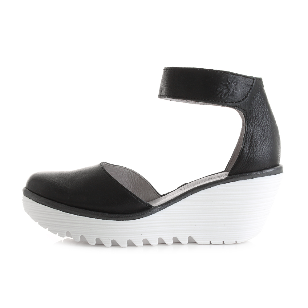 womens fly yand black white wedge heel leather shoes shu size ebay