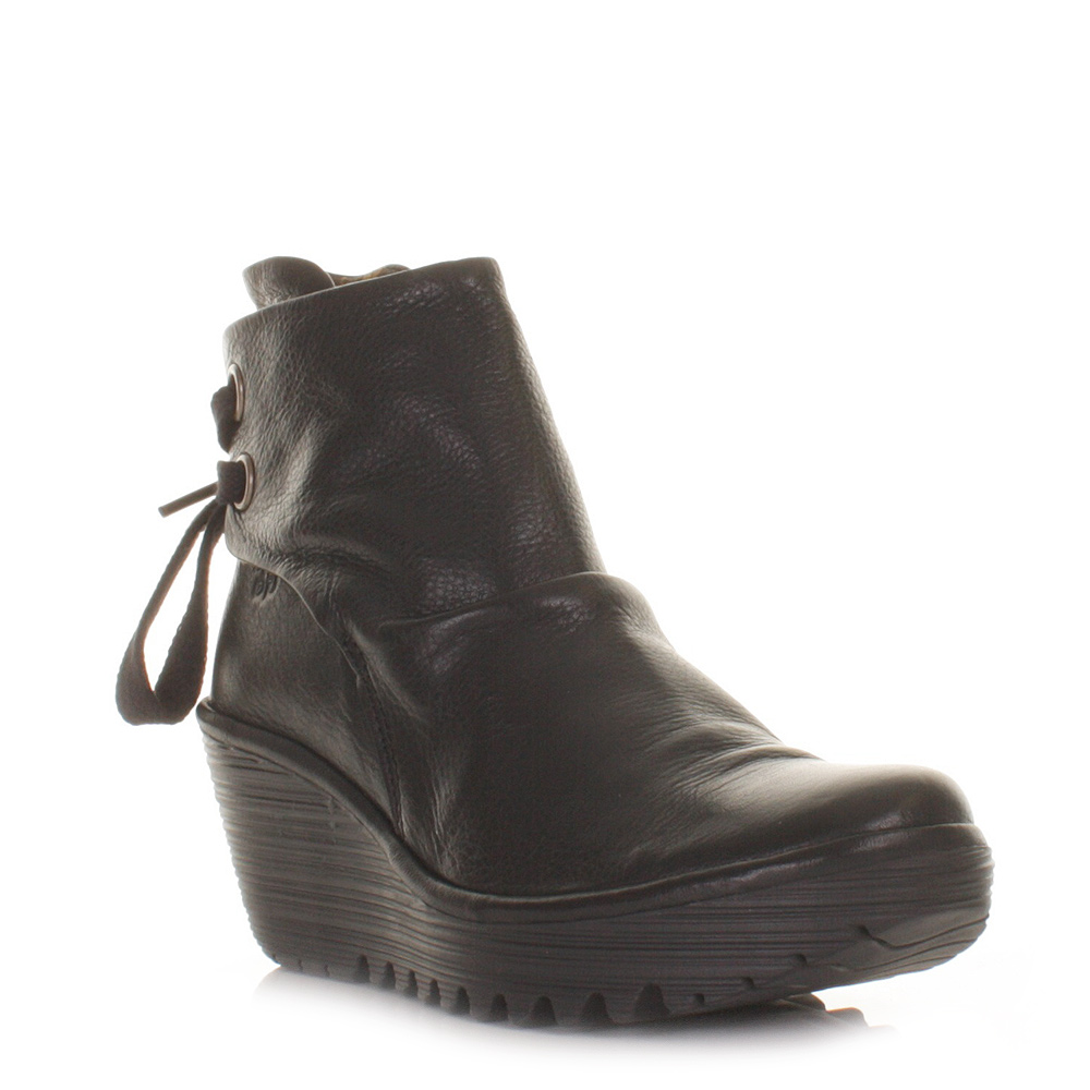 fly boots womens yama black leather wedge heel