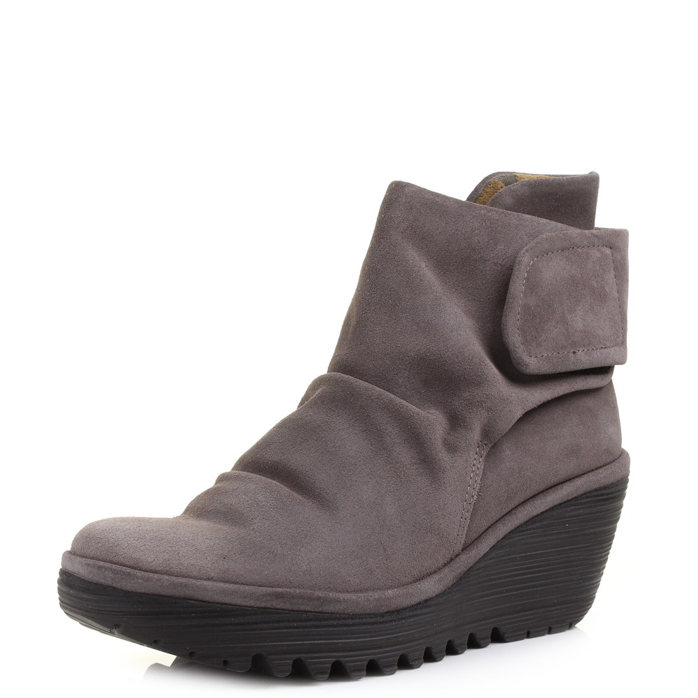 womens fly london yegi oiled suede ash leather wedge heel ankle boots size ebay. Black Bedroom Furniture Sets. Home Design Ideas