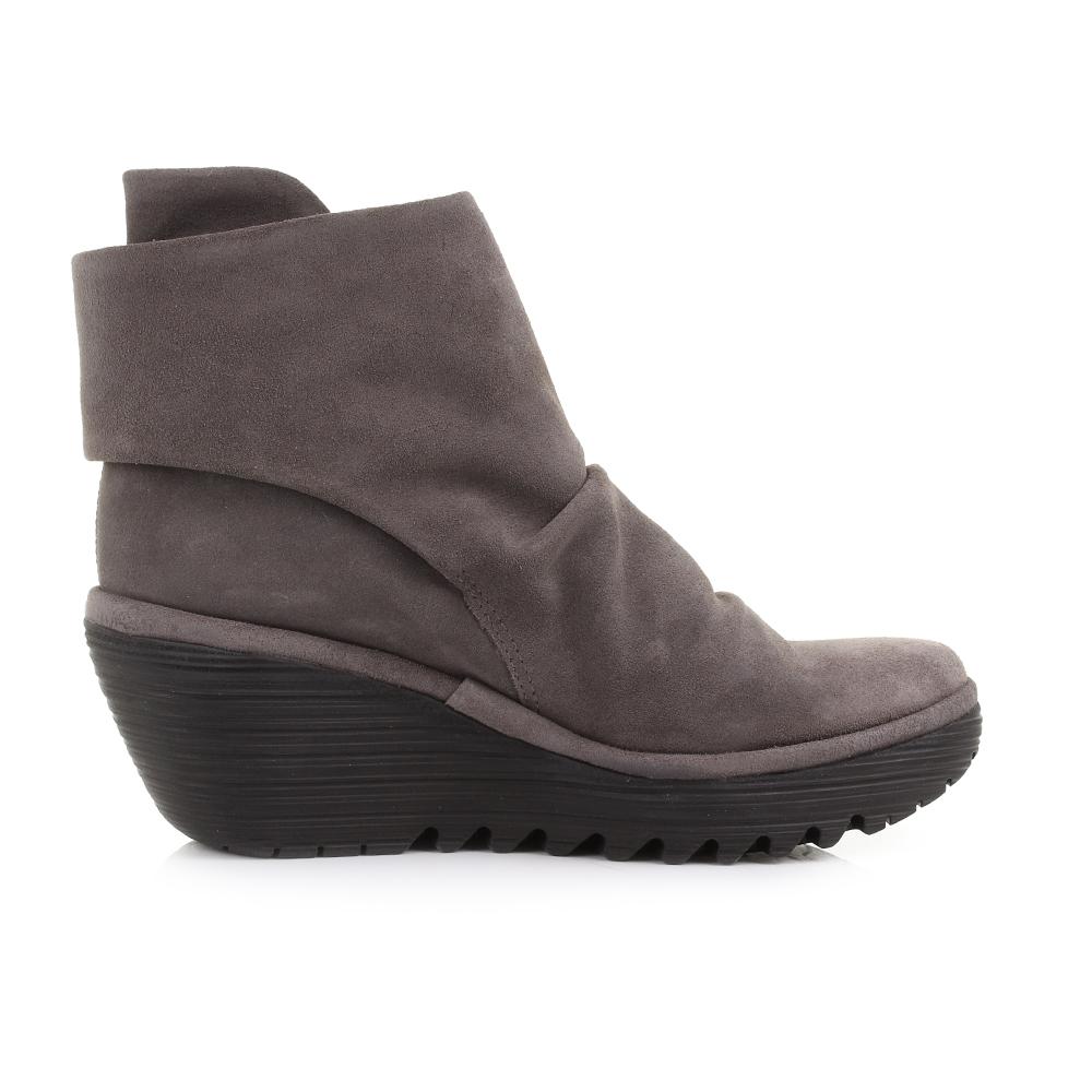 womens fly yegi suede ash leather wedge heel