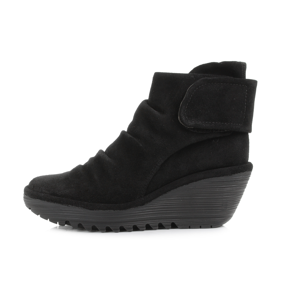 Womens Fly London Yegi Oiled Suede Black Leather Wedge Ankle Boots ...