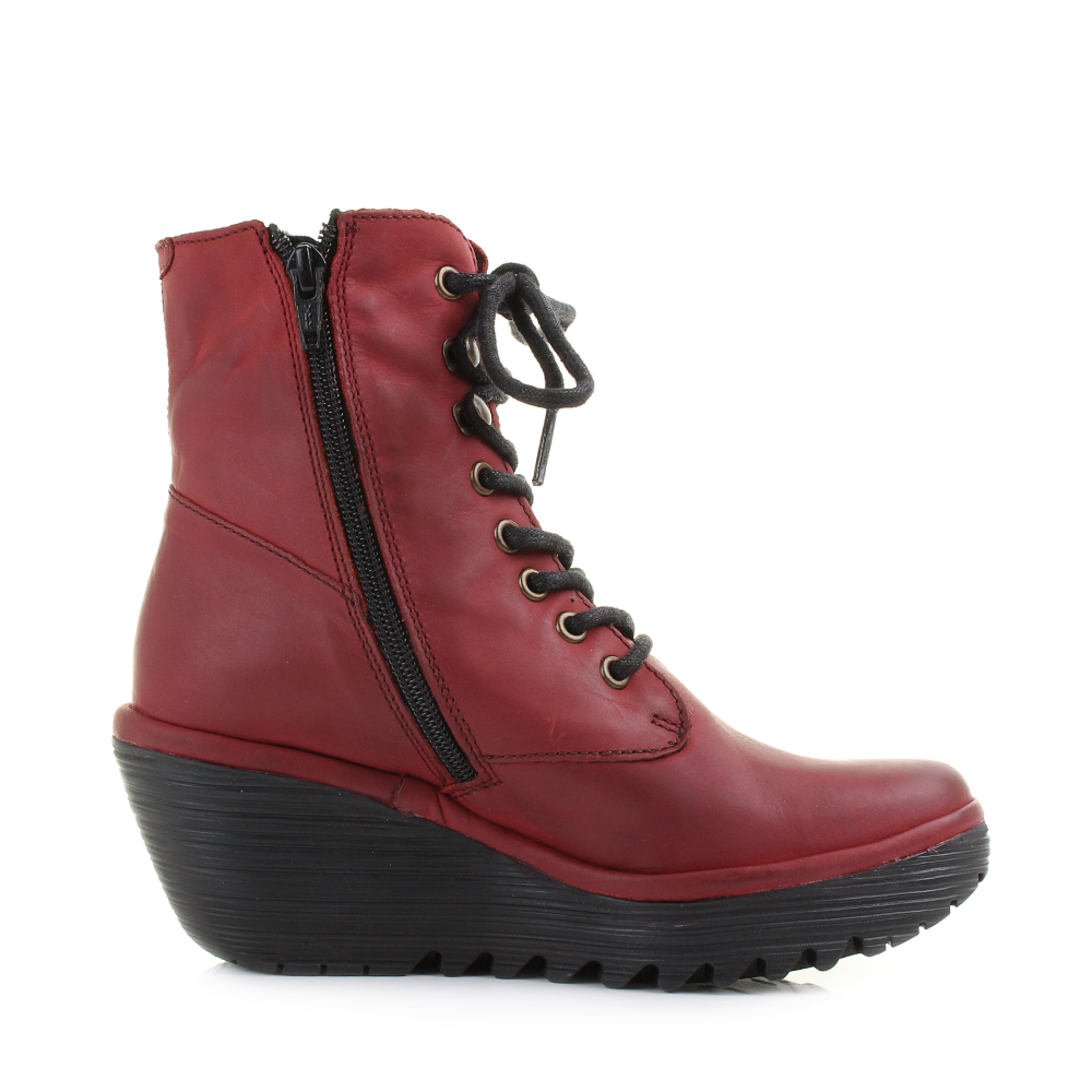 Popular  Womens Fly London Mesu Rug Red Smooth Leather Ankle Boots Shu Size