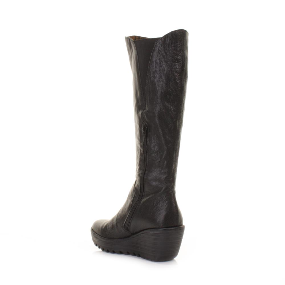 womens fly yind black leather knee high wedge heel