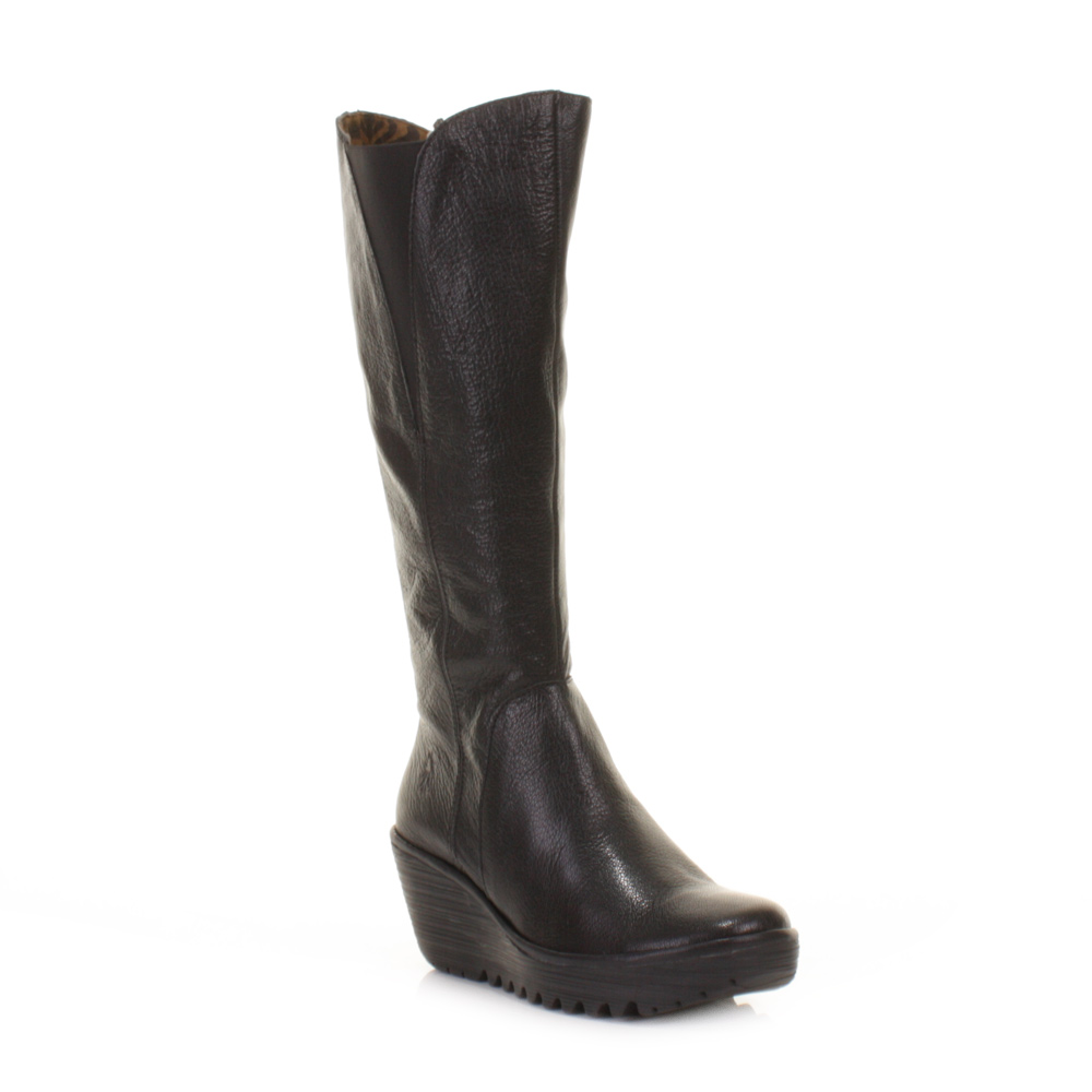 WOMENS FLY LONDON YIND BLACK LEATHER KNEE HIGH WEDGE HEEL BOOTS ...