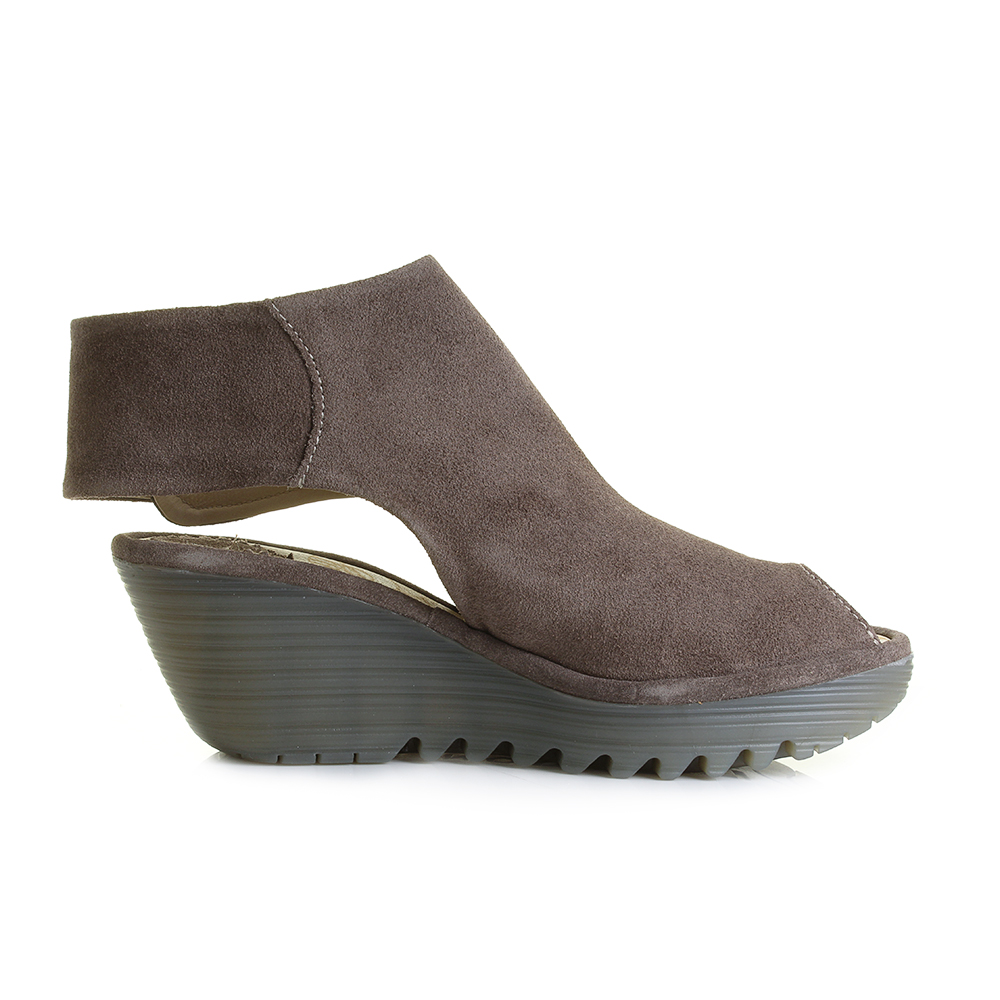 womens fly yone taupe suede leather wedge heels