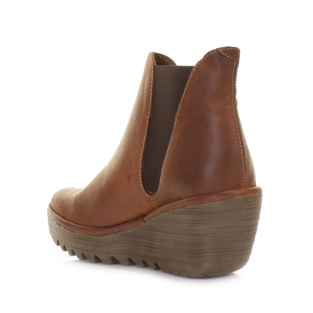 fly yoss camel leather wedge heel chelsea