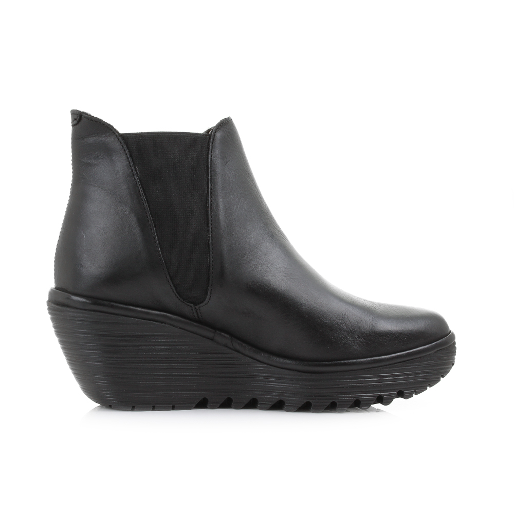 womens fly yoss black rug leather wedge heel