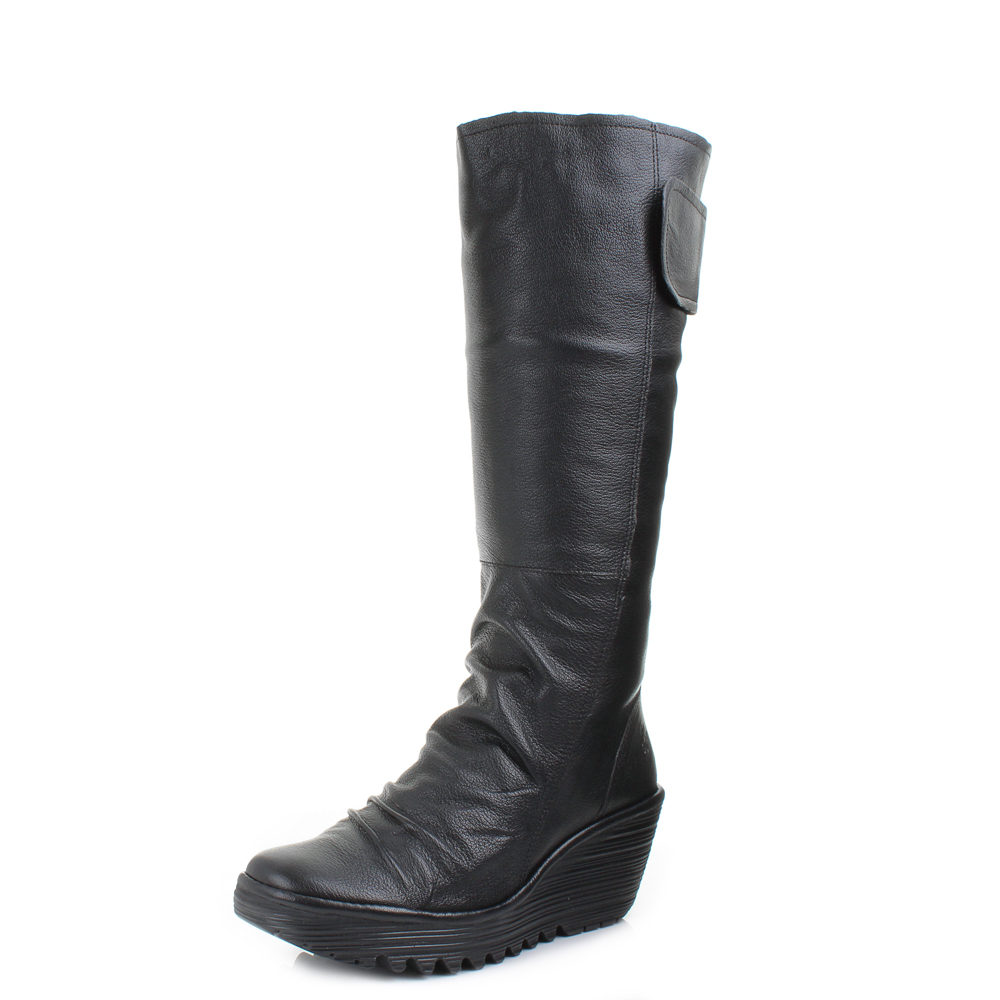 womens fly yulo mousse black leather knee high