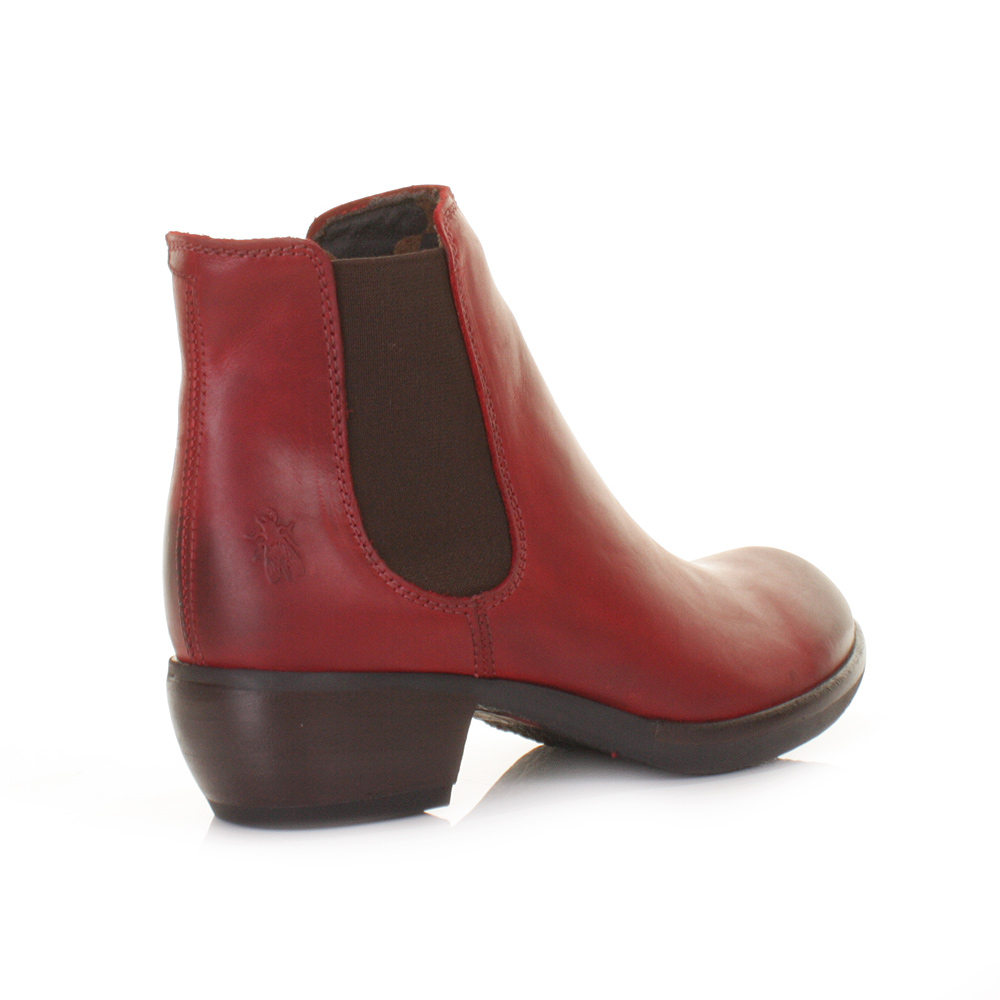 Womens Fly London Make Red Leather Chelsea Heeled Ladies