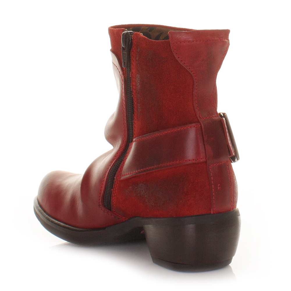WOMENS FLY LONDON MEL RED LEATHER DISTRESS LADIES WESTERN ANKLE