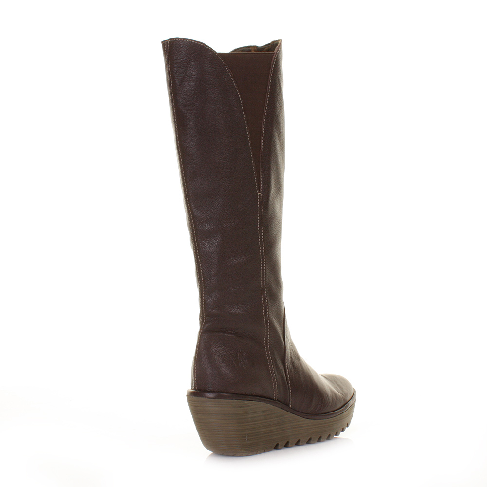 fly yind brown leather knee high wedge