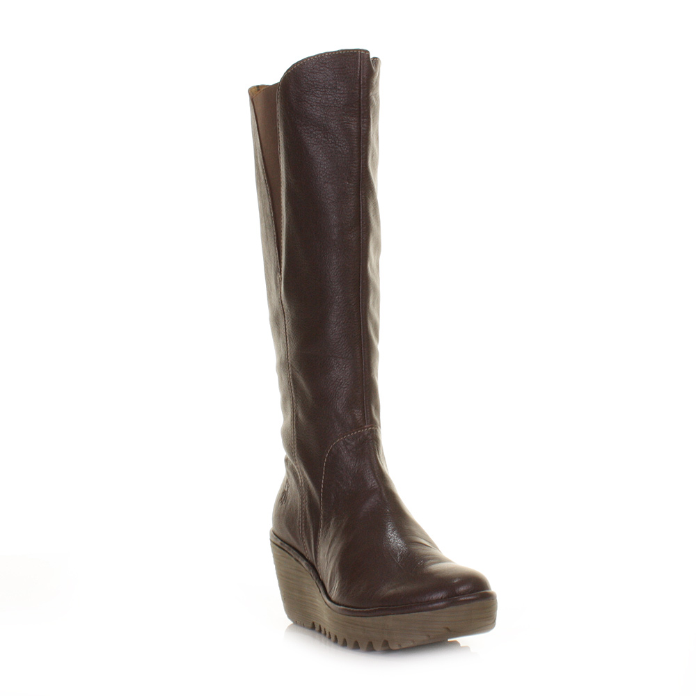 womens fly yind brown leather knee high wedge
