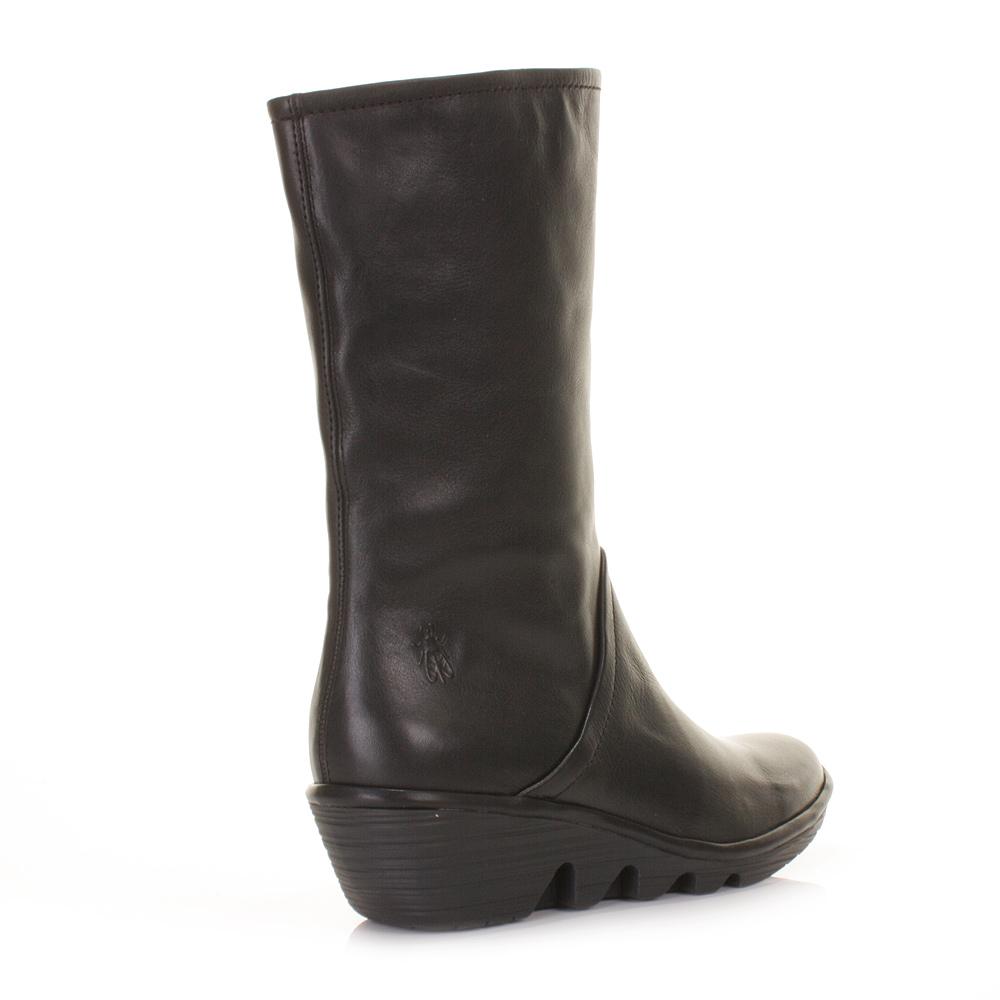 womens fly pama black leather mid calf wedge heel