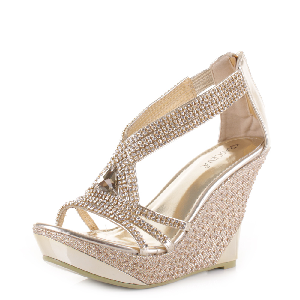 womens stunning diamante wedge platform party evening prom