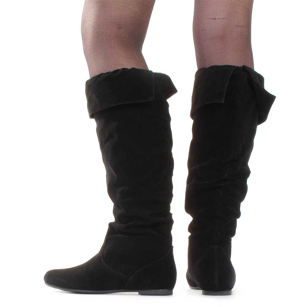 womens flat suede style turnover pixie cuff knee