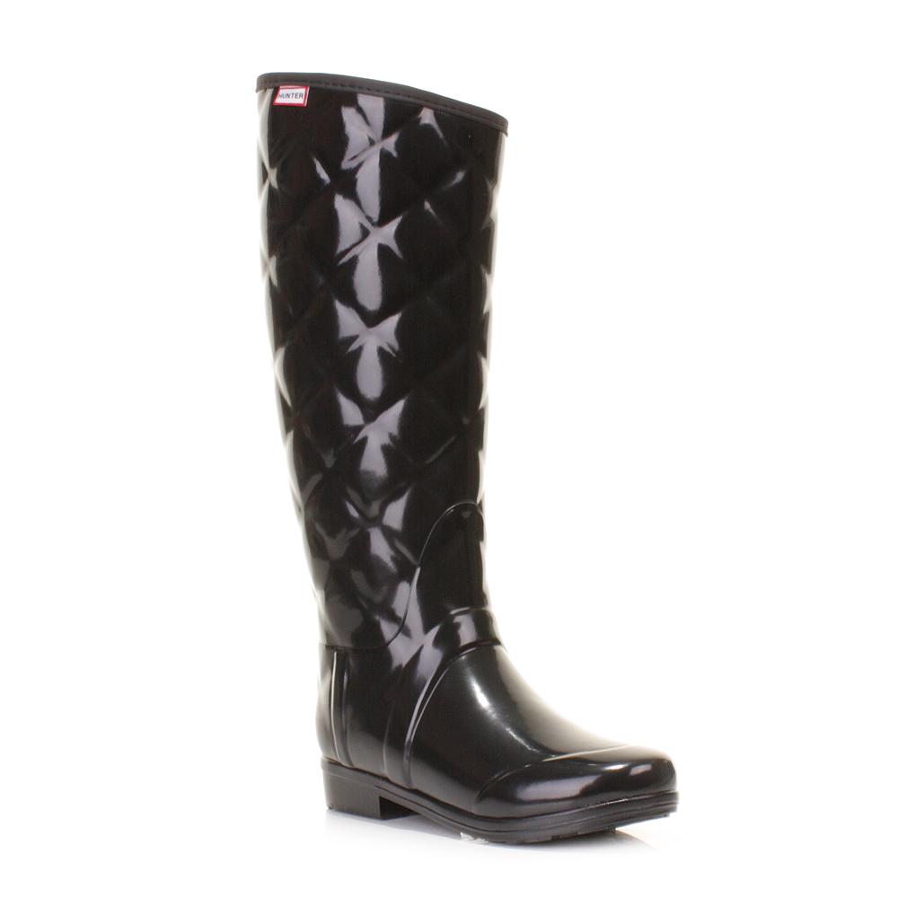 Popular WOMENS HUNTER SANDHURST BLACK QUILTED WELLINGTON BOOTS WELLIES SIZE 3