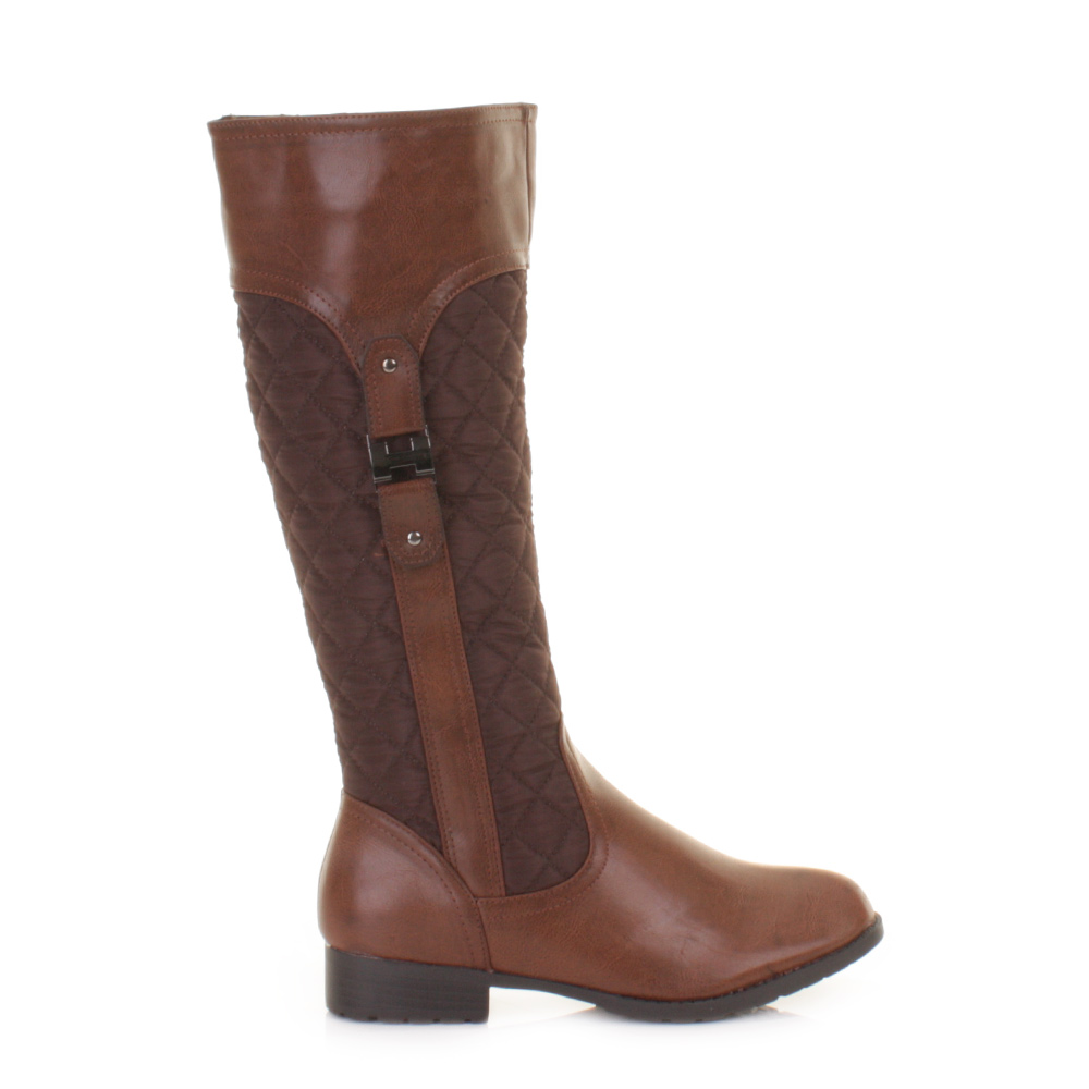 womens quilted flat brown knee high calf