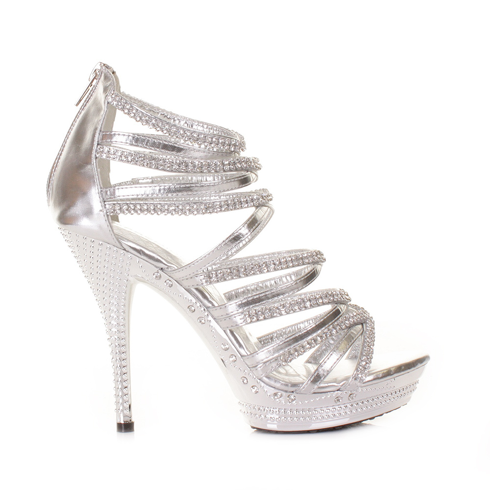 WOMENS HIGH HEEL SILVER GLADIATOR STRAPPY SANDAL PLATFORM PARTY