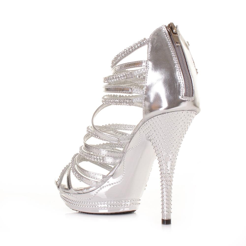 womens high heel silver gladiator strappy sandal platform