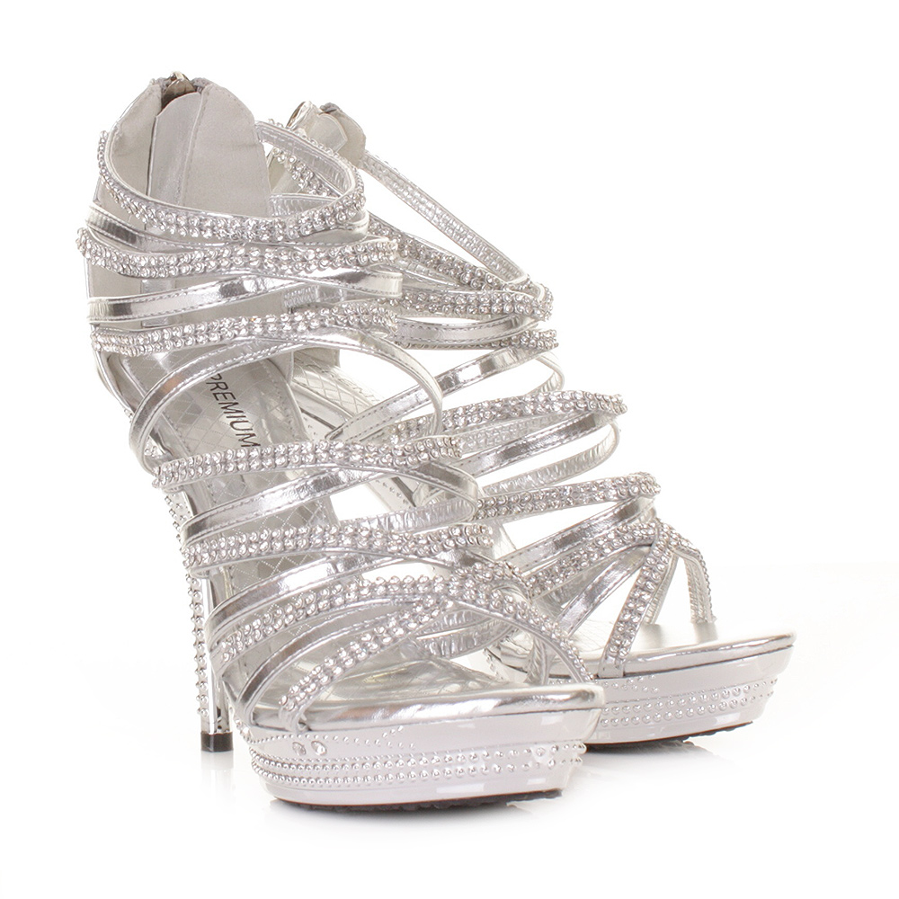 Gladiator Strappy Sandal Women High Heel Silver Platform Party ...