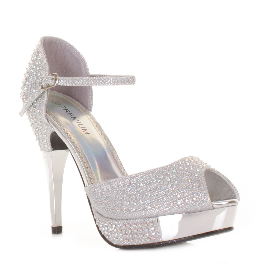 womens silver shimmer diamante ankle high heel