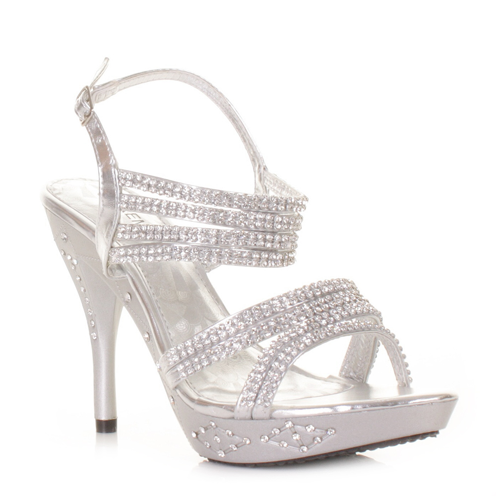 womens strappy prom embellished wedding high