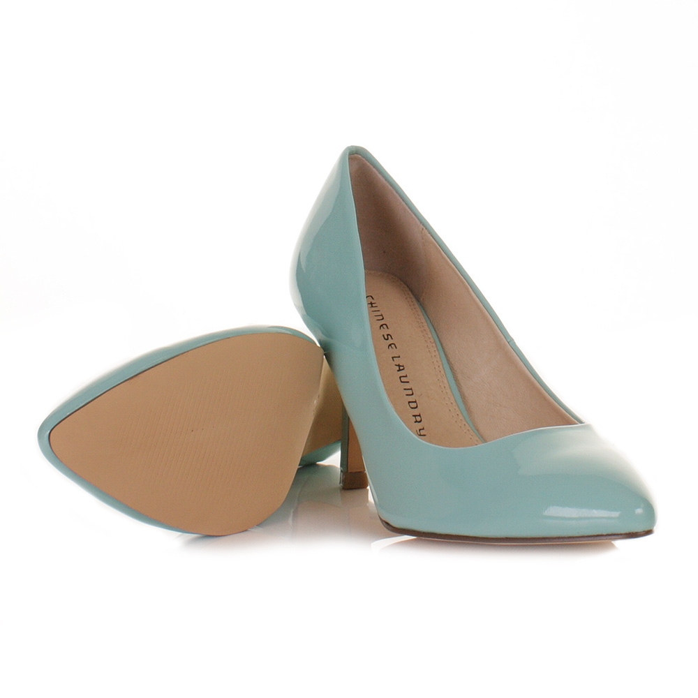 Women Chinese Laundry Area Mint Green Patent Kitten Heel Court ...
