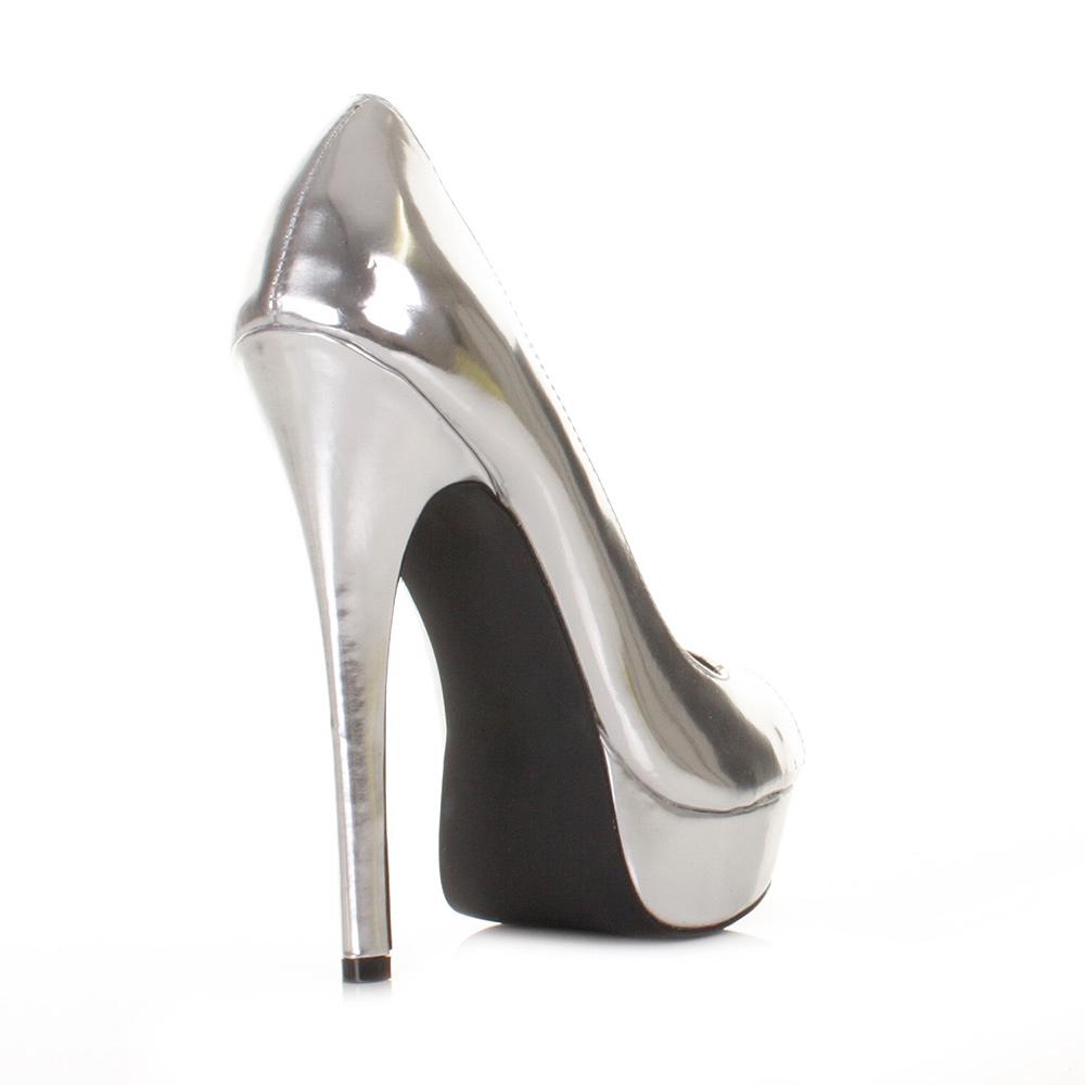 womens high heel platform peep toe silver mirror court shoes ladies size 3 8 ebay. Black Bedroom Furniture Sets. Home Design Ideas