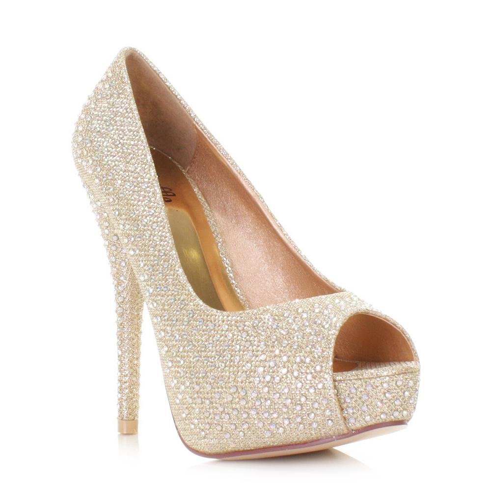 Gold Open Toe High Heels - Is Heel