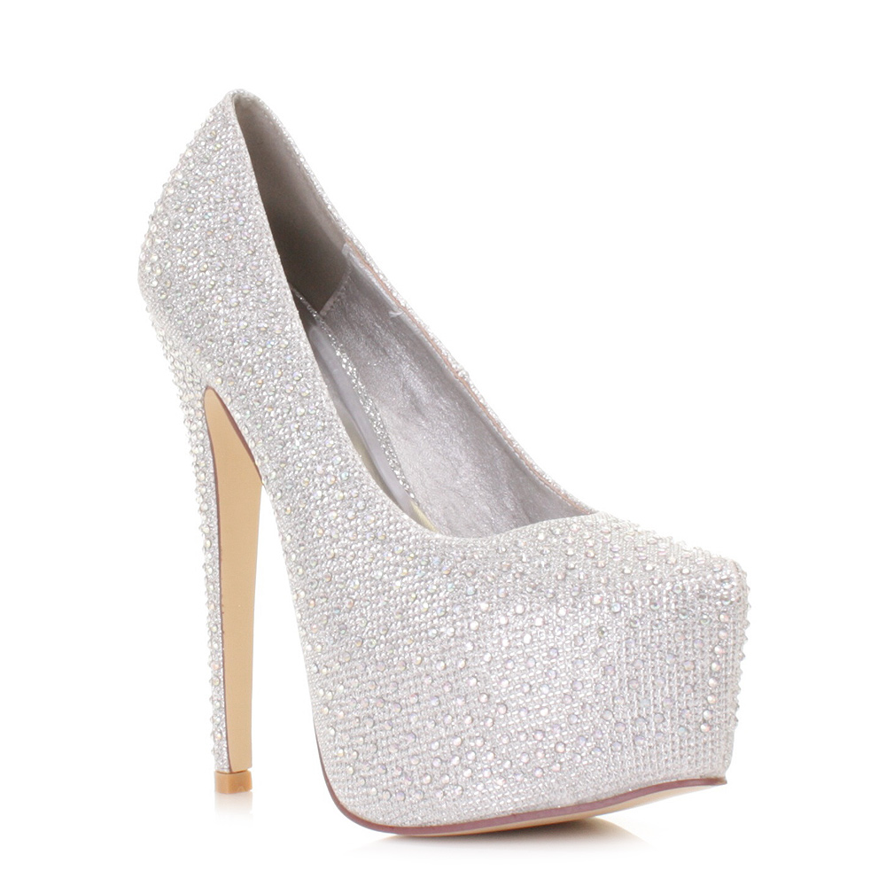 Silver Diamante High Heels
